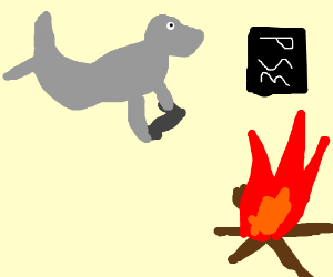 levitating seal playing PS3 over fire