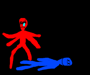 Red fleshed monster saddened by blue's death