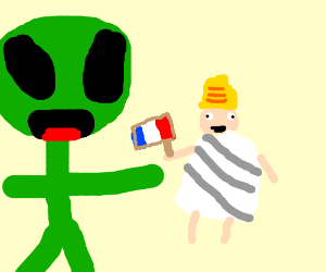 Alien playing with marionette
