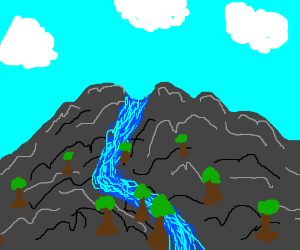 A waterfall off a mountain
