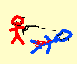 Red man shoots blue man to death on accident