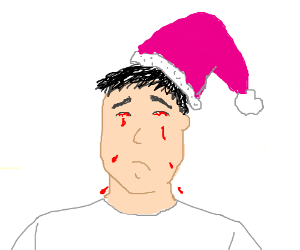 man with pink santa hat is crying blood