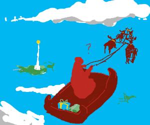 Dark red santa is lost!