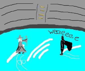 Gandalf and DarthVader go ice skating together