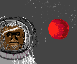 Ape spacewalking above the Red Planet