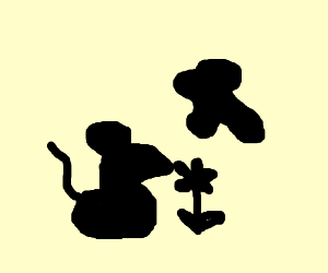 Inkblot A Mouse Sniffing Flower
