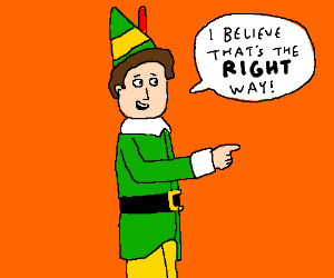 """Buddy Elf points right, says """"Right this way!"""""""