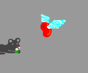 Mouse eats flower,red flyin jelly bean watches