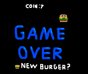 Game Over screen for game starring a burger