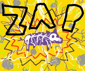 Purple electrified pig
