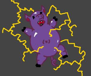 purple piggy is shocked