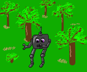 A mech in the forest