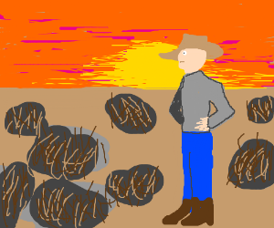 Cowboy on a field of hairy rocks