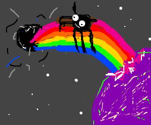 Spider riding a rainbow towards a black hole.