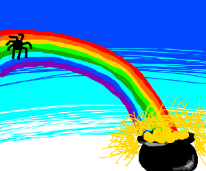 spider climbed up the rainbow for a pot o gold