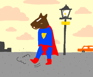 Super-Horse hangs out by a lamp post