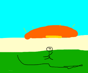 A person running into the sunset