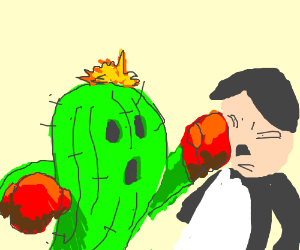 Cactuar punching Hitler in the face