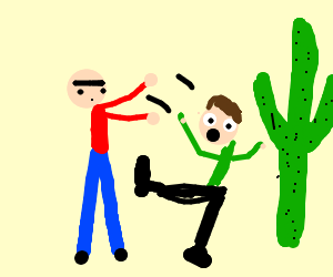 Unibrow guy throws attractive pal at a cactus