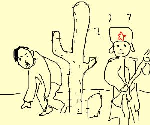 Hitler is hidding behind a cactil