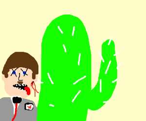 Hitler hides from a soviet behind a cactus
