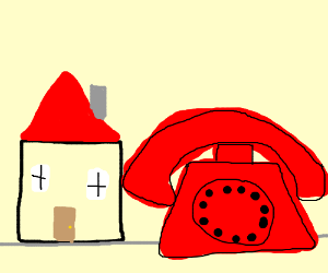 house and a giant telephone
