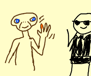 ET waving to someone with a black tie