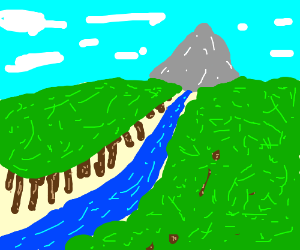 Forest with river leading to mountain