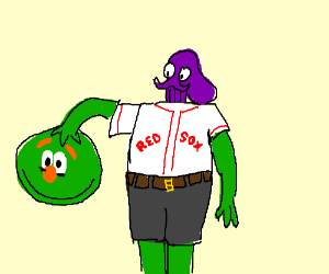Purple octopus disguises as a green monster