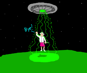 Old grandma goes into a spaceship saying bye