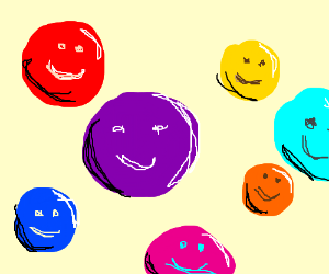 Colorful spheres w/ faces have a party
