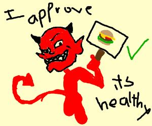 satan pushing burgers as a healthfood