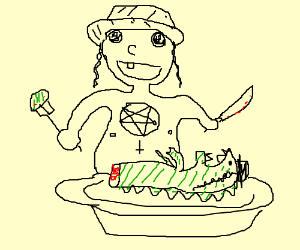 Satanist baby Jew eats Jewzilla