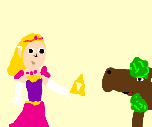 zelda giving triforce to treehorse