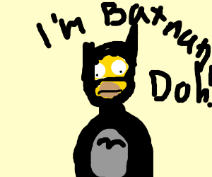Homer Simpson dressed up as Batman