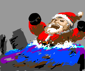 Giant angry Santa stuck in a flood