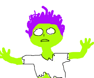 Zombie with purple hair.