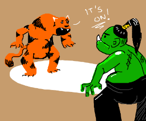 An orc wrestling a dire tiger