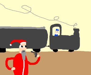 Santa about to rob train