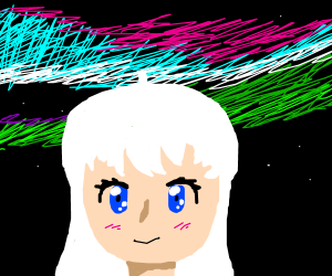 White-haired anime girl confronts aurora
