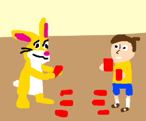 Rabbit and boy play some trading card game