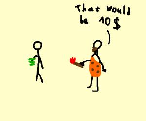 cavemen sell fire now