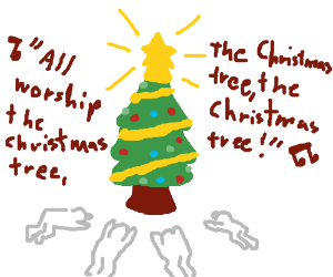 Carolers worship Christmas tree
