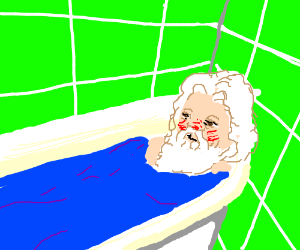 Santa found intoxicated in the bathtub