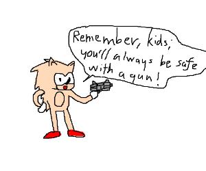 Tan Sanic wielding a gun.