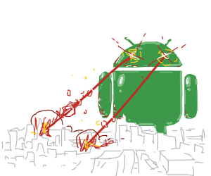 Green robot is attacking the city!