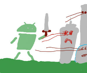 Android Phone Robot Attacks city w/ lazer eyes