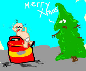 Tree wishes merry christmas to baby on petrol