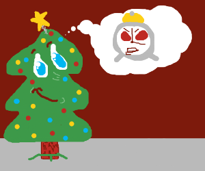xmas tree is happy about a dreamed angry clock