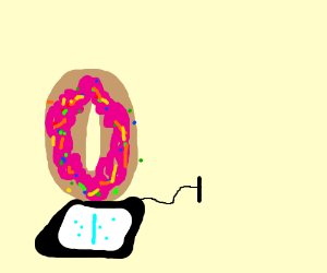 Doughnut on a drawing tablet